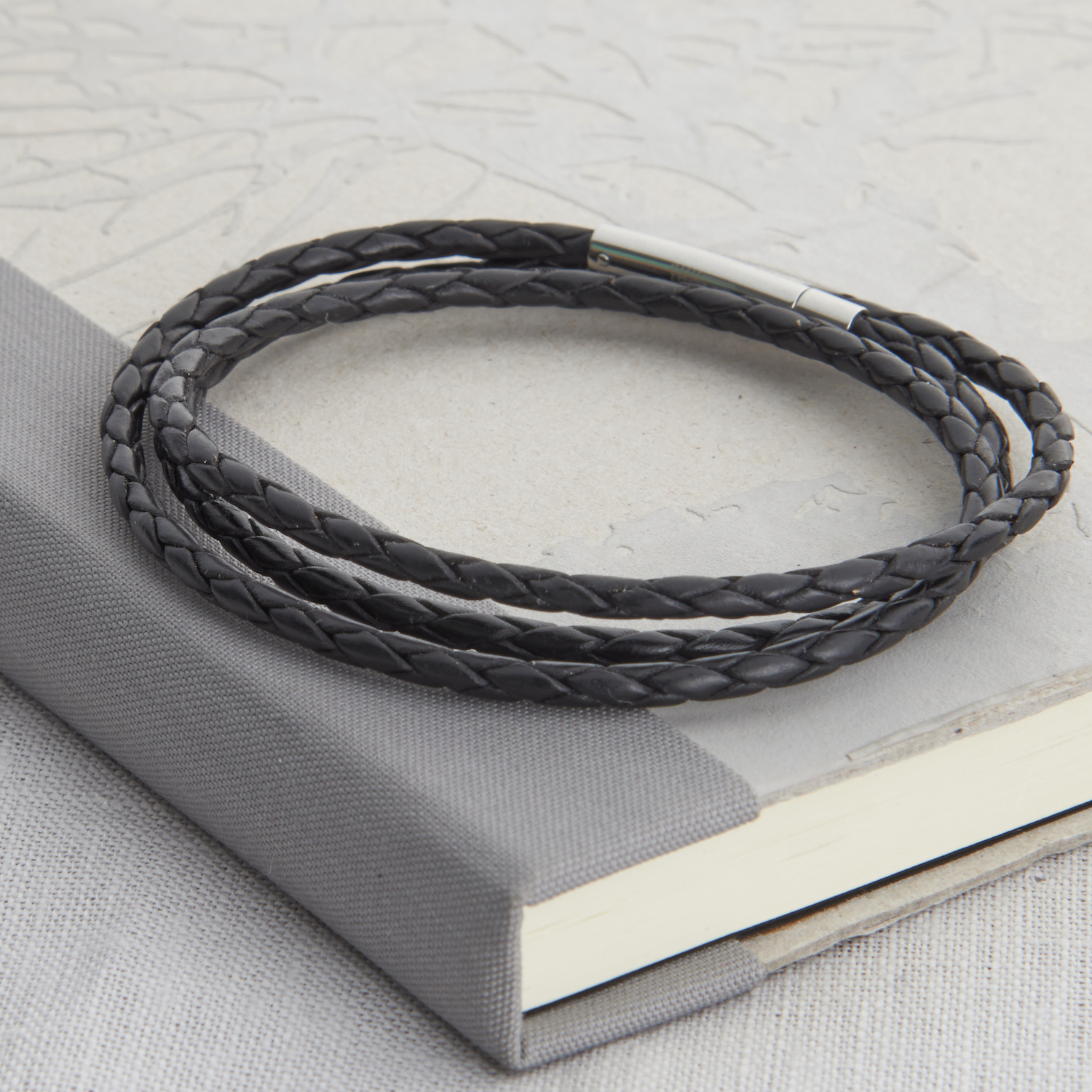 HBMB15Mens Plaited Leather Wrap Bracelet
