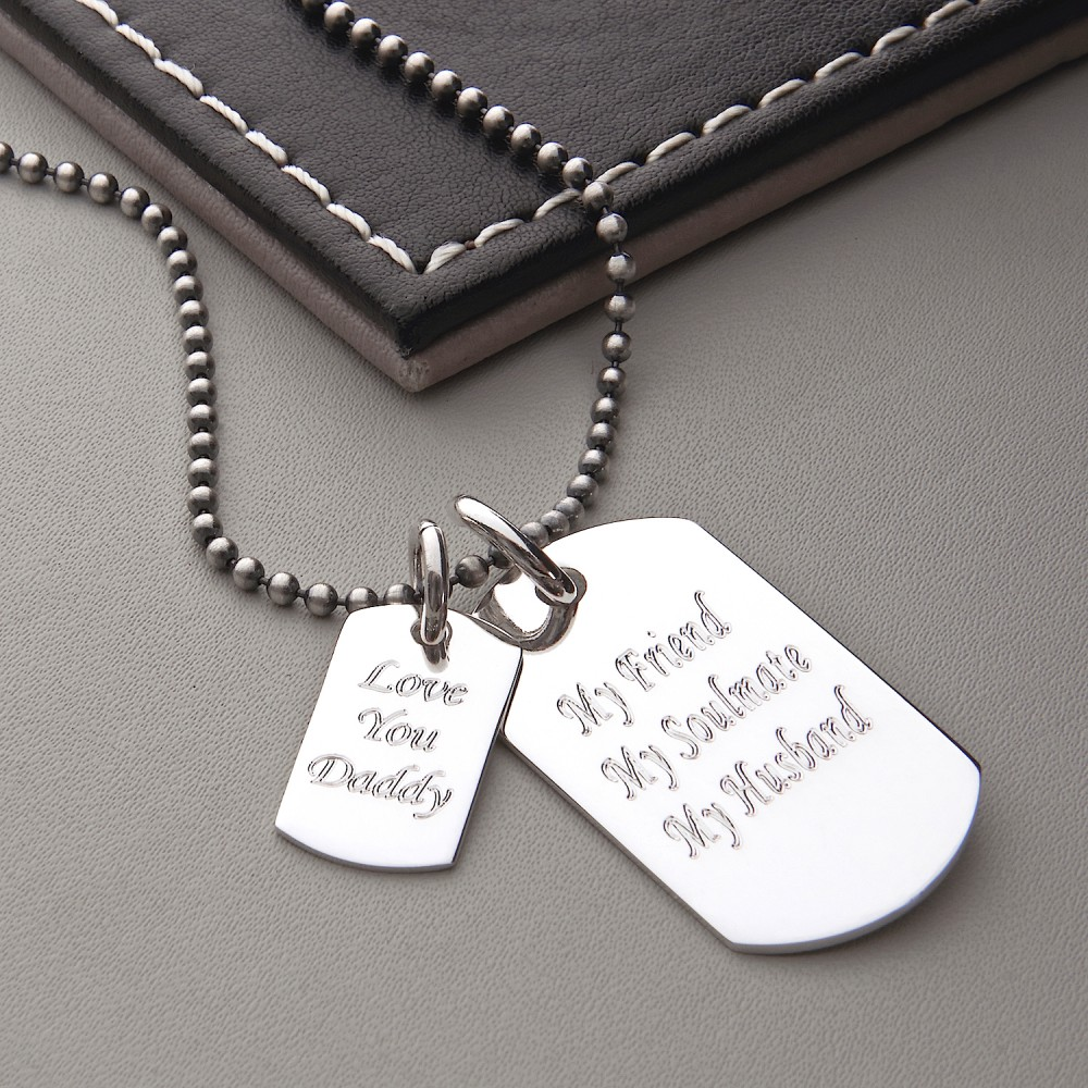 e5f1b9cfa1 FathersDayDoubleDogTag HBMN16Men's Sterling Silver Double Dog Tag Necklace  ...