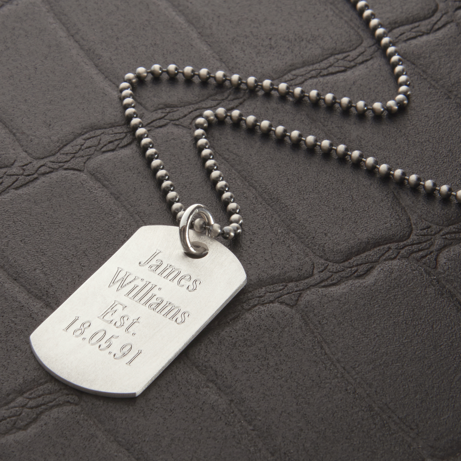 HBMN04Mens Sterling Silver Dog Tag Necklace