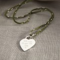 HBN94 Personalised Sterling Silver Heart And Silk Necklace