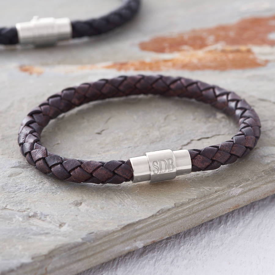 Men S Personalised Clasp Plaited Leather Bracelet