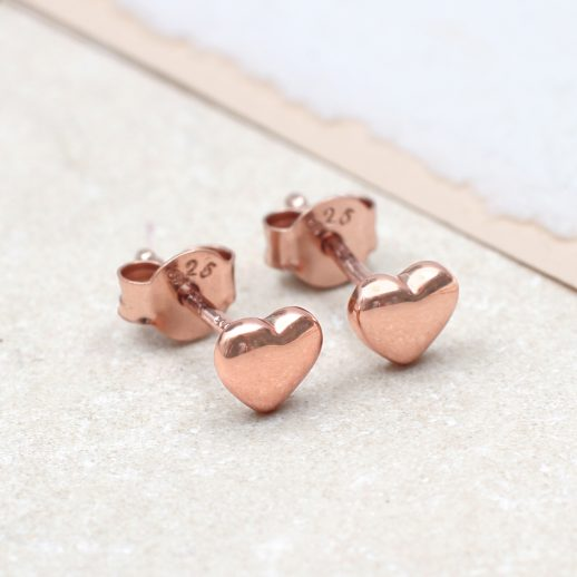 Earrings Rose Gold Hearts