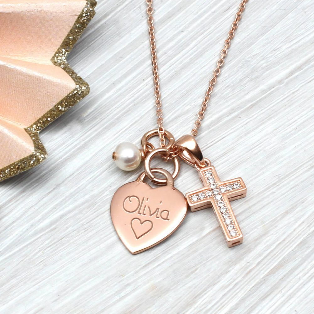 225d0940ca6b3 Personalised Petite Rose Gold Heart And Cross Necklace | Hurleyburley