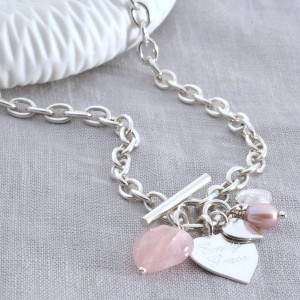 ea5a764594a Personalised Sterling Silver Rose Quartz Heart Necklace £140