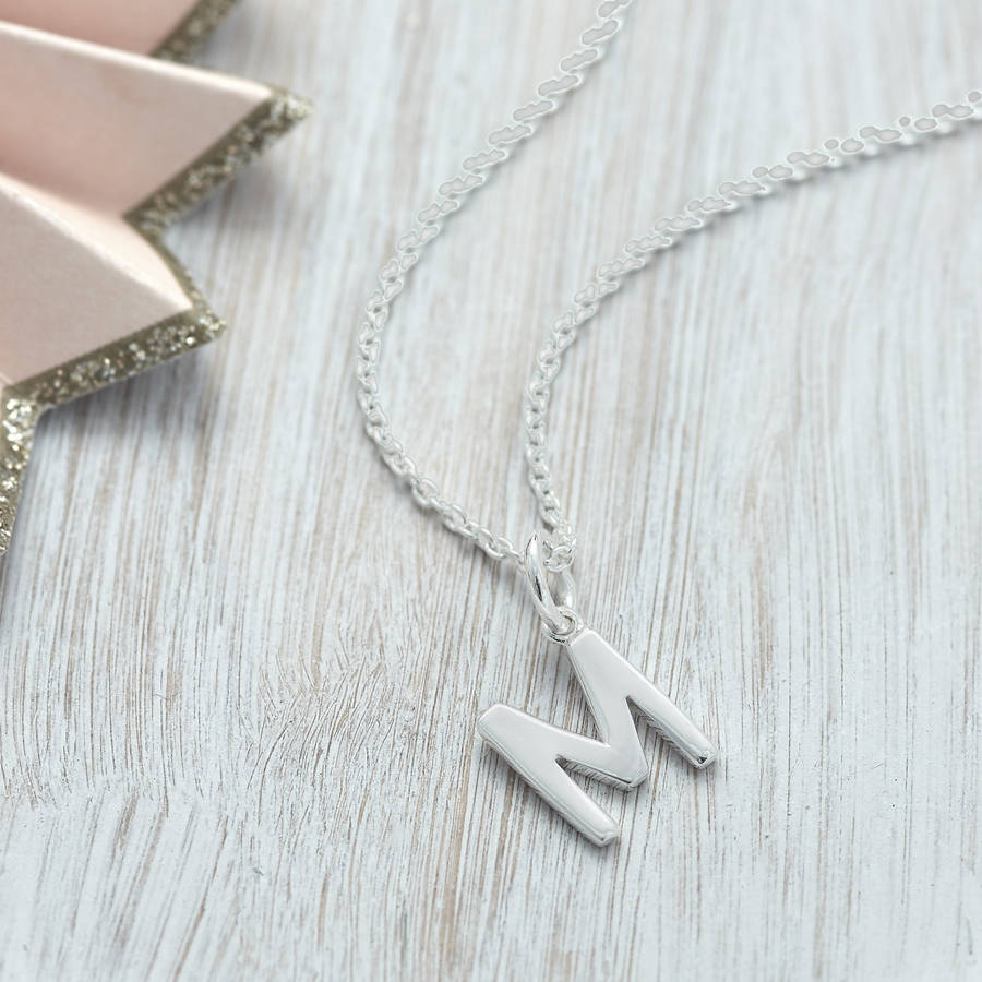 f0ef8a25d499 Initial-Charm-Necklace-Honey-Silver original_sterling-silver-initial- necklace ...