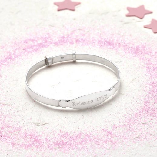 Sterling silver personalised christening bangle