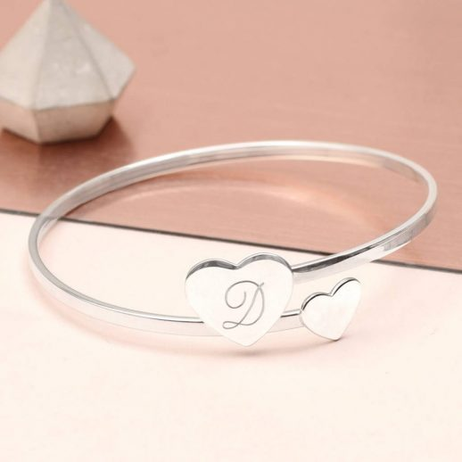 Double-heart-Bangle-Initial