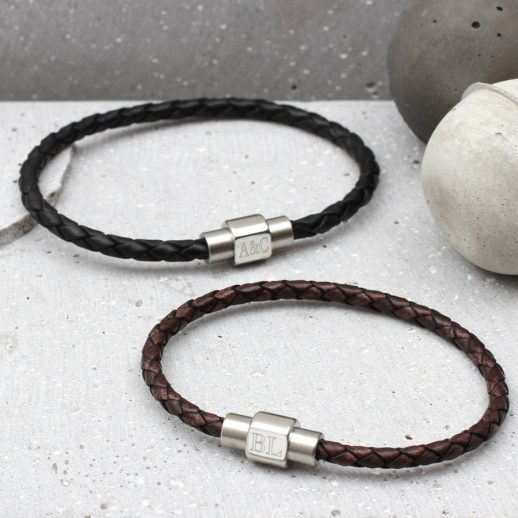 Men's personalised clasp slim leather bracelet