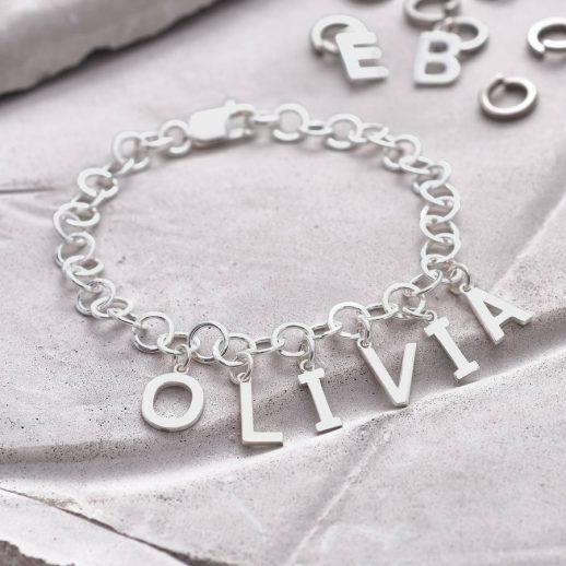 Personalised Sterling Silver Name Charm Bracelet Hurleyburley