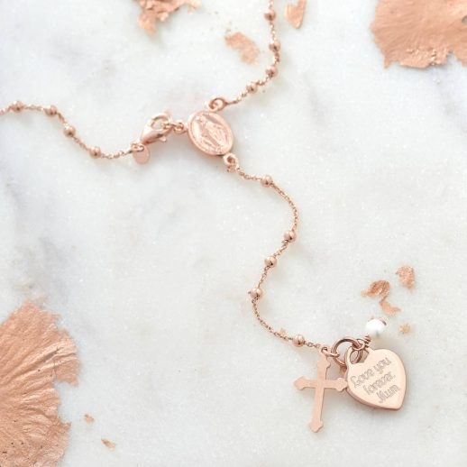 Personalised rose gold rosary necklace
