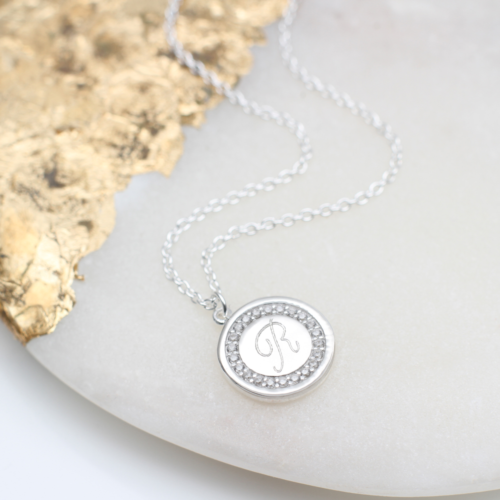 4666c7e29571c Personalised Sterling Silver Engraved Initial Necklace | Hurleyburley