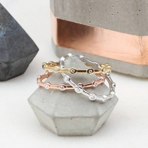 Precious metal and cubic zirconia stacking rings