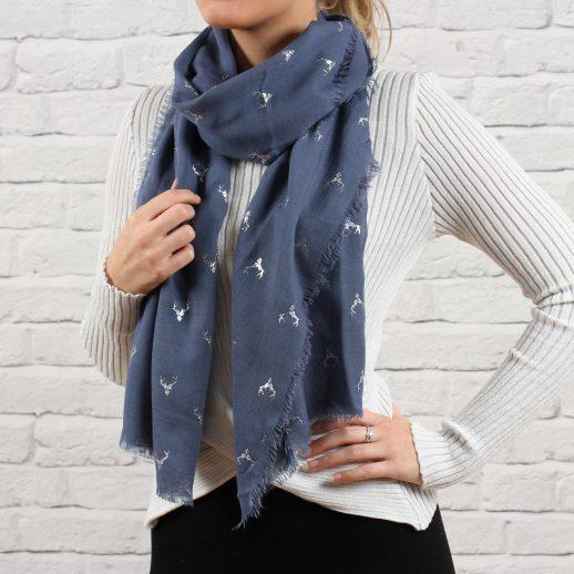 DenimBlueSilverStagScarf