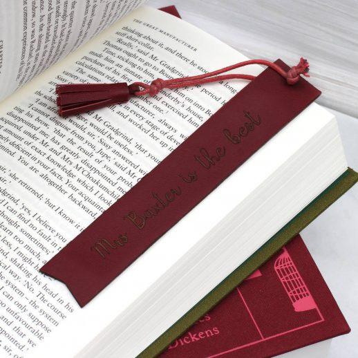 Personalised Italian Leather Bookmark | Hurleyburley