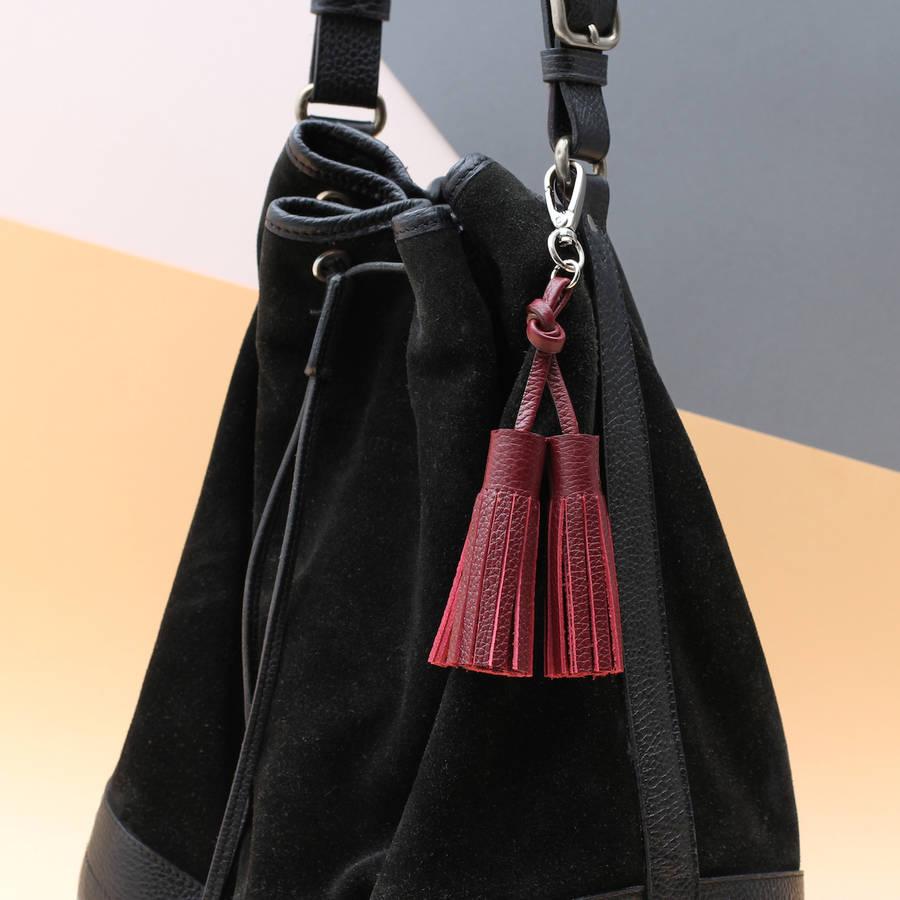 7b7b0a41a Personalised Luxury Nappa Leather Tassel Bag Charm   Hurleyburley
