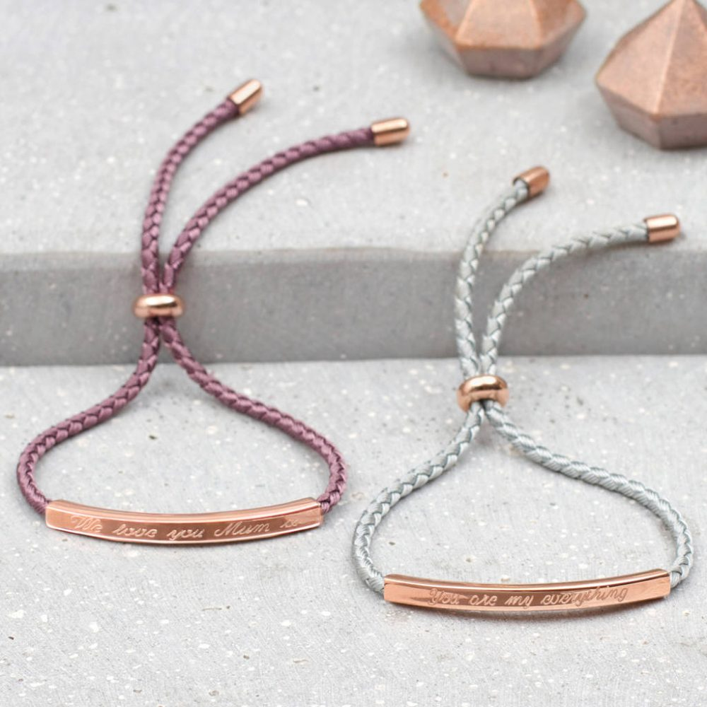 b84857952b6 Sienna Rose Gold Personalised Friendship Bracelet | Hurleyburley