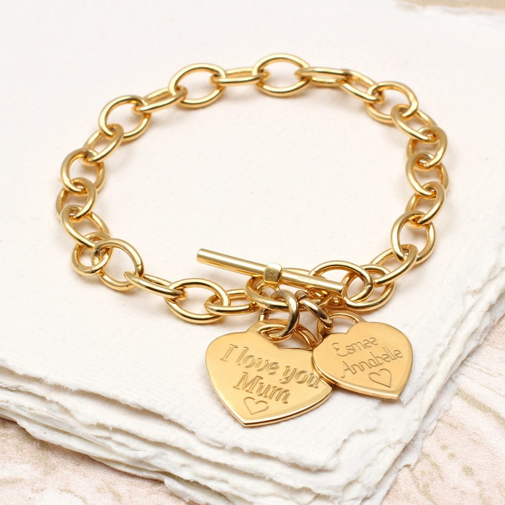 cde08bddd937f Personalised Yellow Gold Charm Chain Bracelet | Hurleyburley