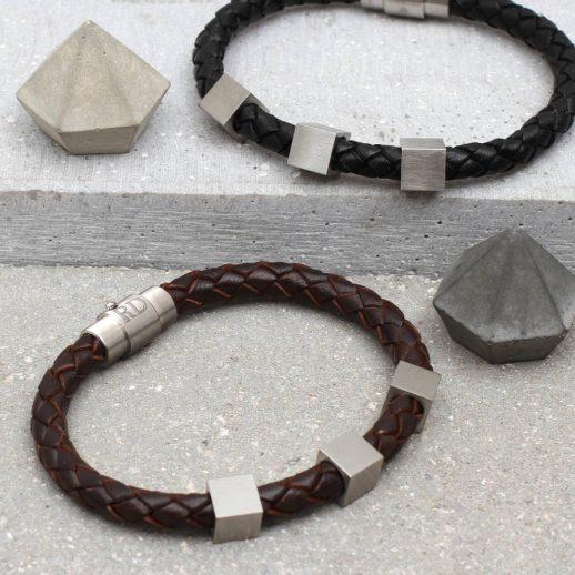 original_personalised-leather-and-steel-cube-bracelet