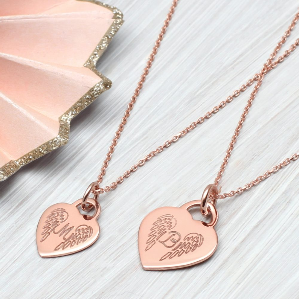 dc8aecbb648 Personalised Gold Angel Wing Initial Necklace   Hurleyburley