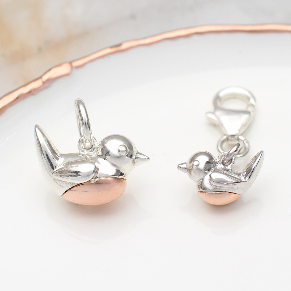 4c20bd176 Sterling Silver And Rose Gold Robin Red Breast Charm | Hurleyburley