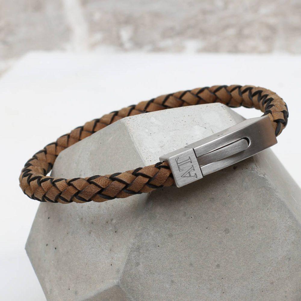 136fa61f9 Men's Personalised Plaited Suede Leather Bracelet   Hurleyburley