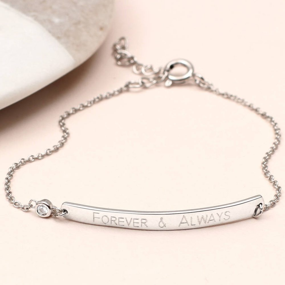 8695ac6d603e1 Personalised Sterling Silver And Cz Bar Bracelet | Hurleyburley