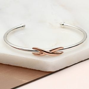 Sterling silver and rose gold infinity bangle