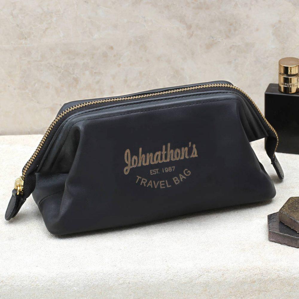 eba0ab3e117 Personalised Luxury Italian Leather Wash Bag | Hurleyburley