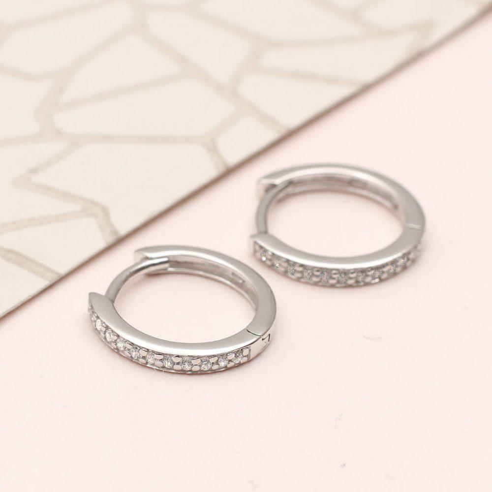 966c8eeb3 Sterling Silver and Semi Precious Crystal Huggie Hoop Earrings ...