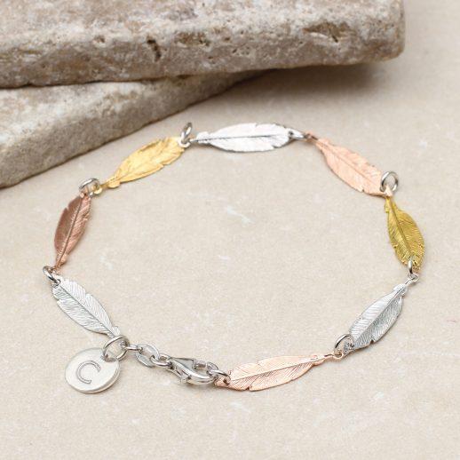 mixed-metal-feather-bracelet