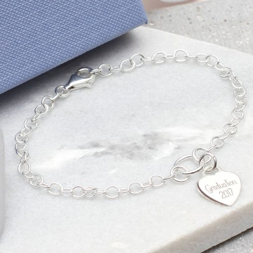 Personalised sterling silver graduation charm bracelet