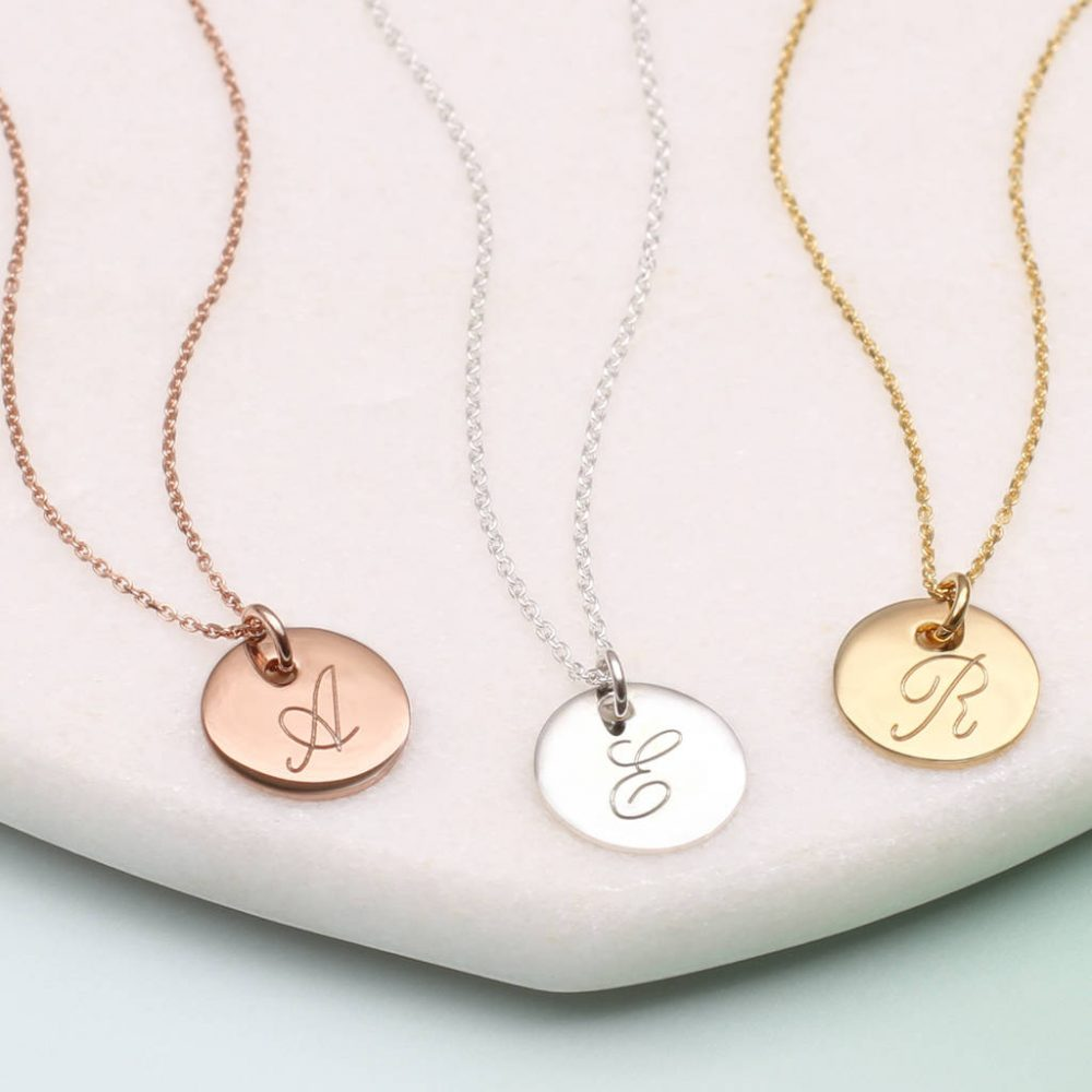 ec002dad5e4f83 Personalised Gold Or Silver Initial Disc Necklaces | Hurleyburley