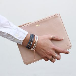 Personalised Initial Leather clutch bag