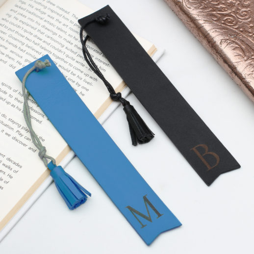 book-mark-initial-leather-personalised-blue