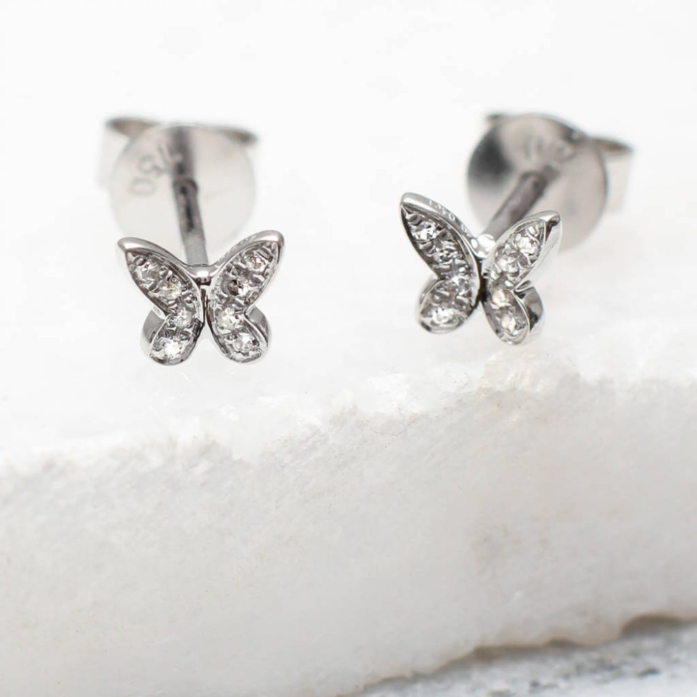 a77d41504cc20c Diamond And 18ct White Gold Butterfly Earrings | Hurleyburley