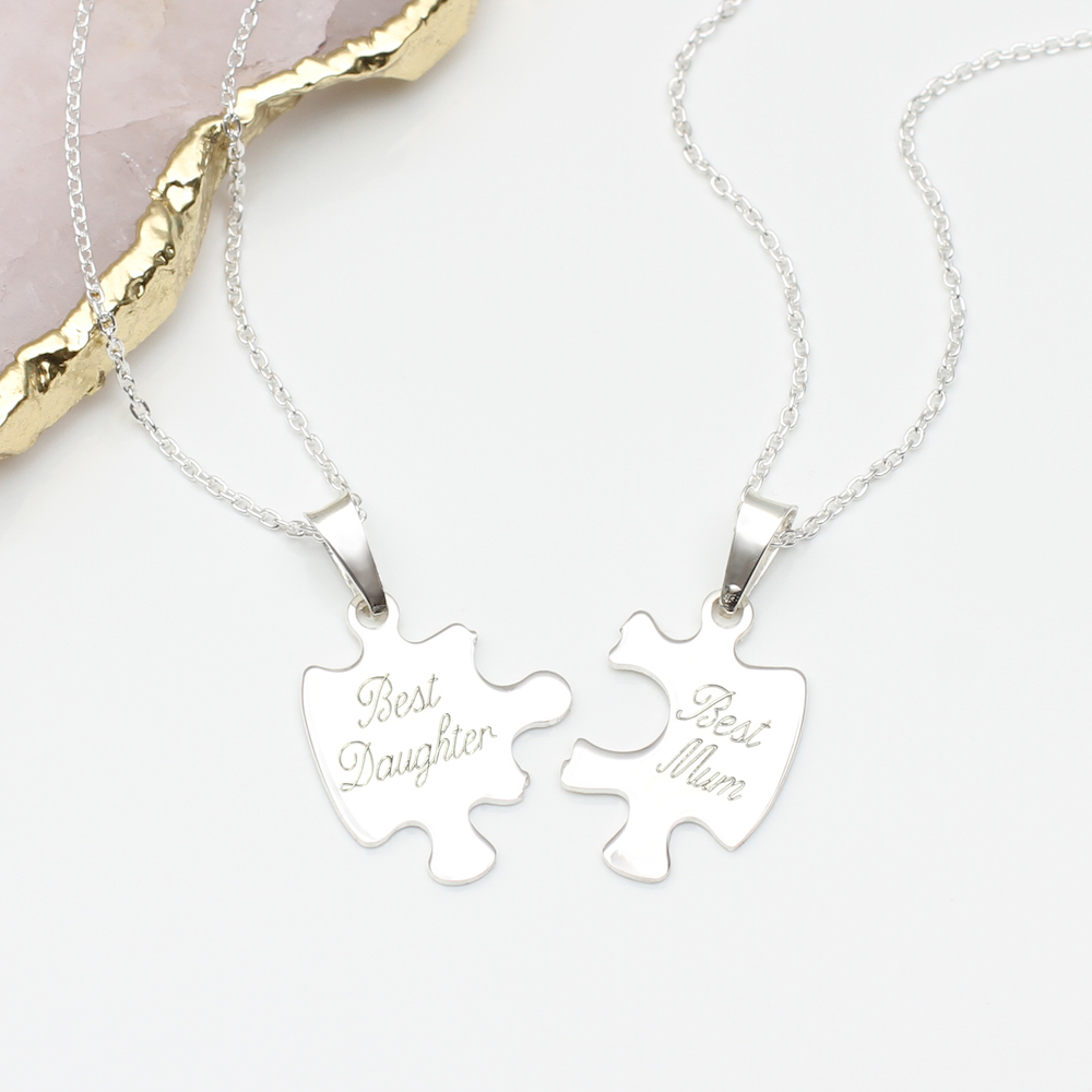 ad434d36a9b64 Personalised Sterling Silver Jigsaw Piece Necklace Set | Hurleyburley