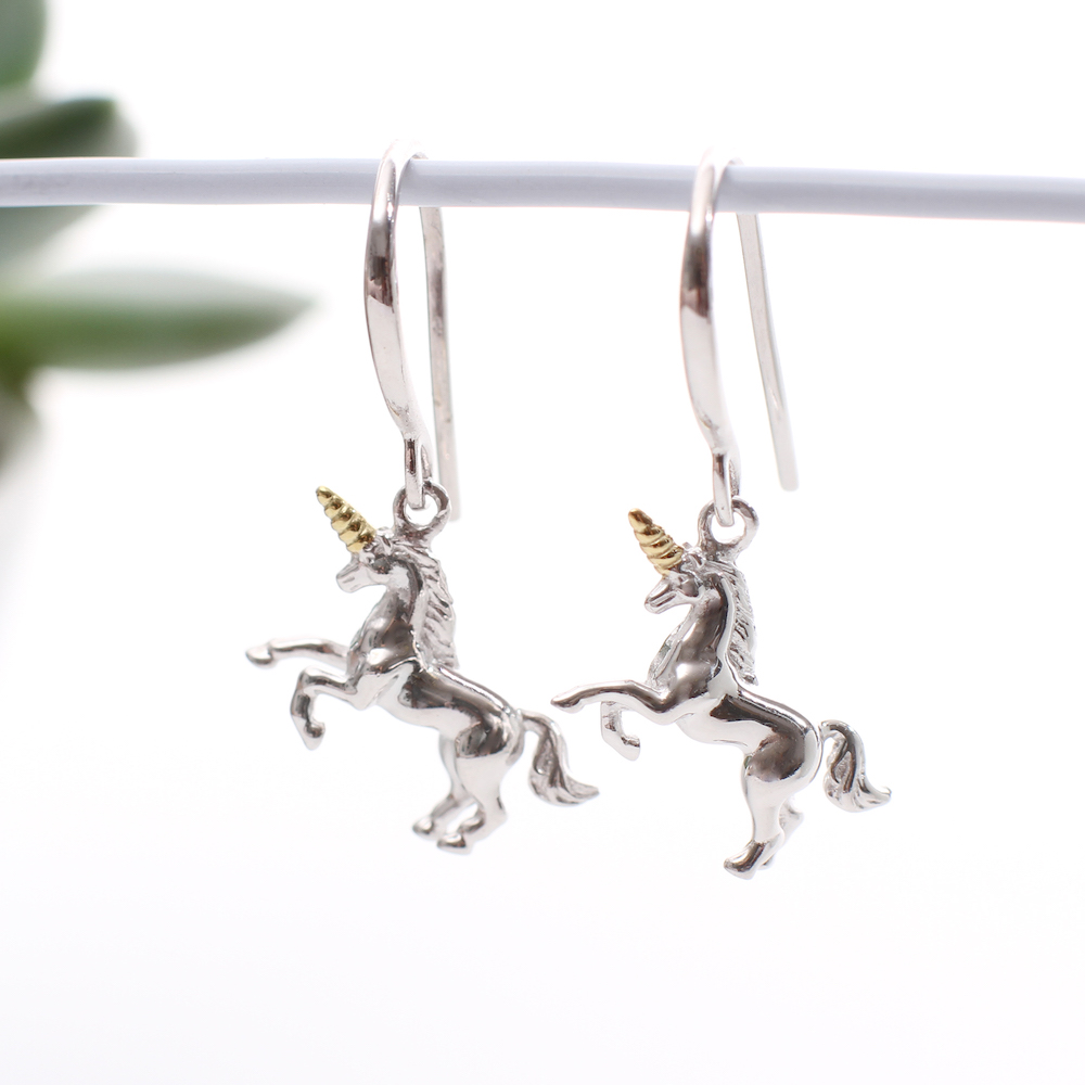 e9fcfb7d3 18ct Gold And Sterling Silver Unicorn Earrings   Hurleyburley