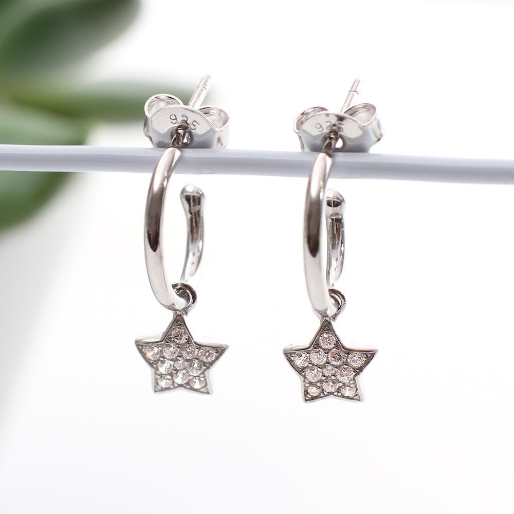 Sterling Silver Mini Hoop And Star Charm Earrings
