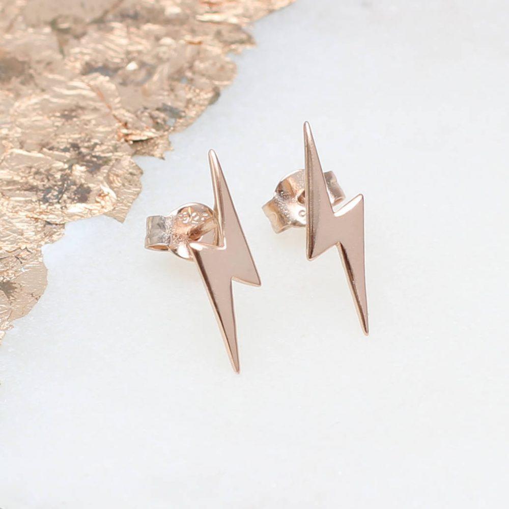 528d6ffe6 18CT Rose Gold Vermeil Mini Lightning Bolt Earrings | Hurleyburley