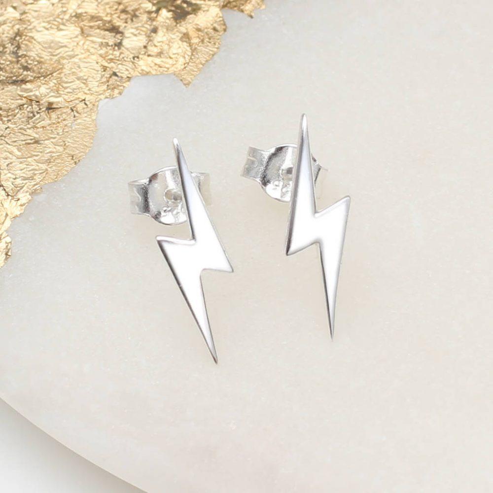 Sterling Silver Mini Lightning Bolt Earrings Hurleyburley