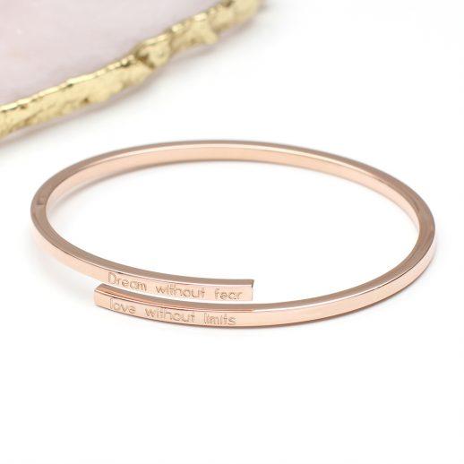 personalised rose gold bangle