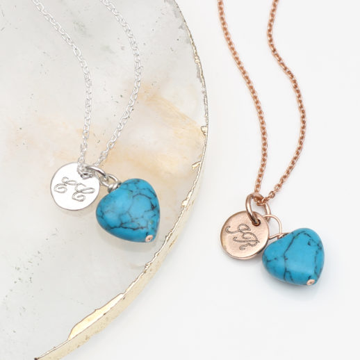TurquoiseHeartCharmNecklaces