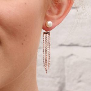 Rose Gold Chain And Pearl Drop Earrings For Her