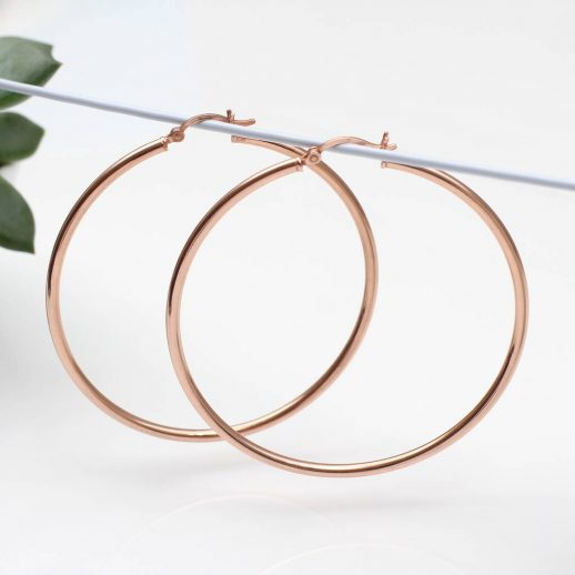 Large Rose Gold Hoop Earrings