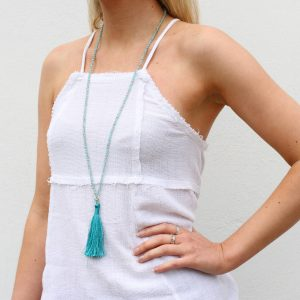 Turquoise Tassel summer necklace