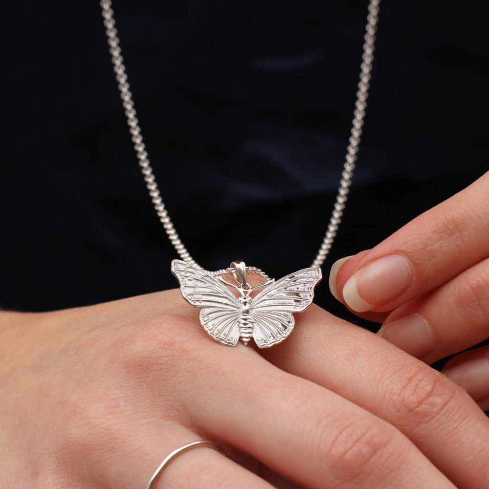 9626e879c2e57 Personalised 18ct Gold Or Sterling Silver Large Butterfly Necklace ...