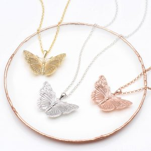 Silver, Gold and Rose Gold Butterfly necklace