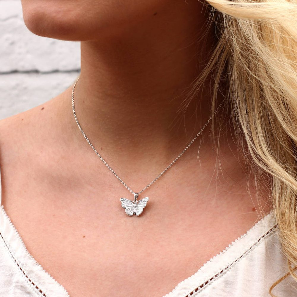 72e13fc6c5c66 Personalised Silver Or 18ct Gold Butterfly Necklace | Hurleyburley