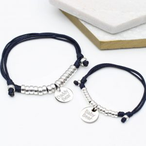 Personalised father and son matching bracelets