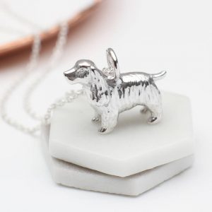 sterling silver spaniel dog necklace